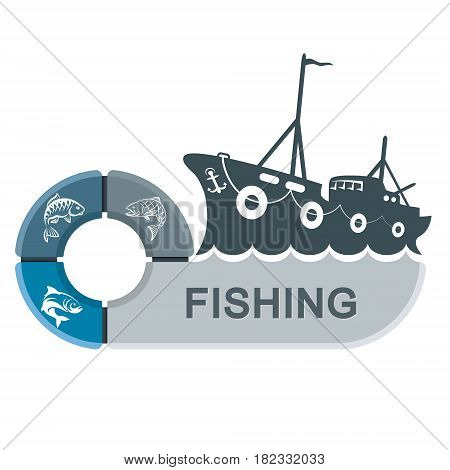 Fishing trawler with infographics. Graphics for the fishing industry vector.
