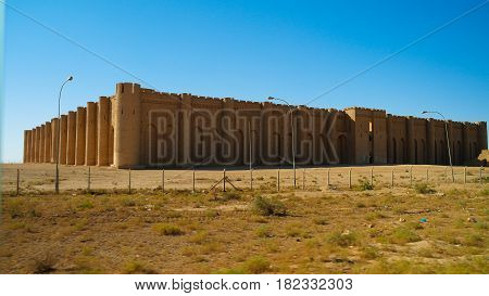 Exterior view to Al-Ukhaidir Fortress aka Abbasid palace of Ukhaider near Karbala Iraq