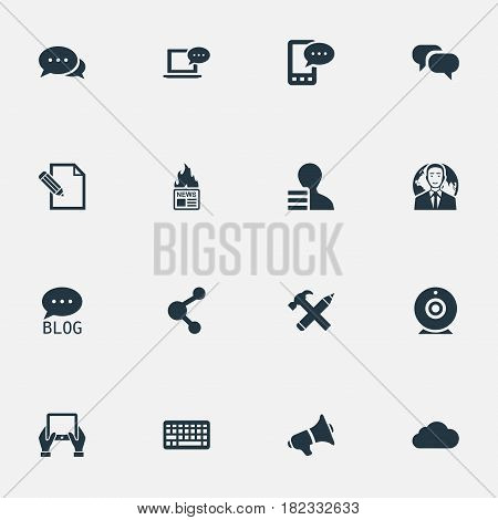 Vector Illustration Set Of Simple Blogging Icons. Elements Repair, E-Letter, Overcast And Other Synonyms Keypad, Tablet And Hand.