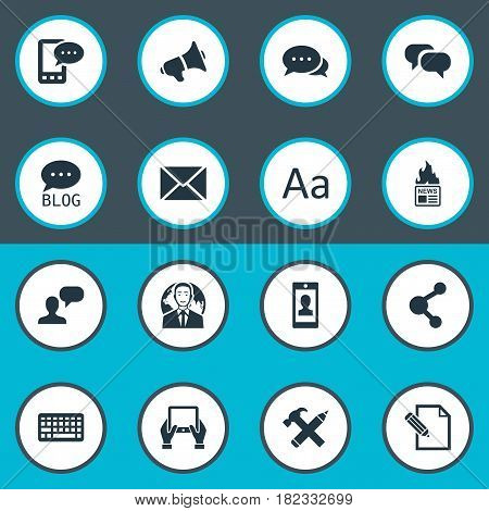 Vector Illustration Set Of Simple Blogging Icons. Elements Gossip, Profile, Gazette And Other Synonyms Laptop, Repair And Writing.