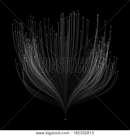 Abstract vector grayscale mesh background. Bio luminescence of tentacles. Futuristic style card. Elegant background for business presentations. Eps 10.