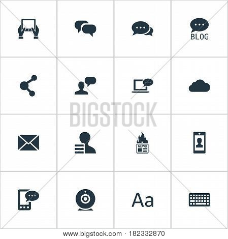 Vector Illustration Set Of Simple Newspaper Icons. Elements E-Letter, Laptop, Profile And Other Synonyms Phone, Hand And Missive.