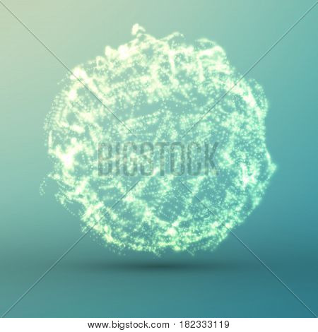 Abstract vector light blue mesh background. Bio luminescence of colony. Futuristic style card. Elegant background for business presentations. Eps 10.
