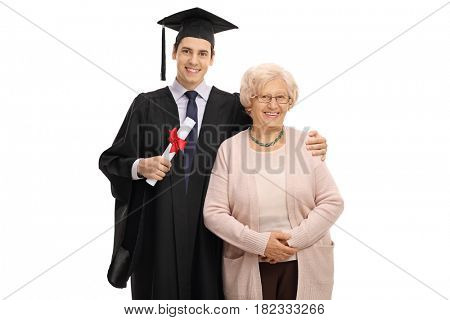 Graduate student and his grandmother looking at the camera and smiling isolated on white background