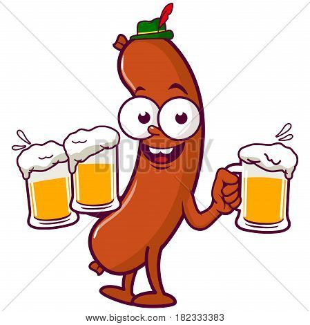 Vector illustration of a cartoon sausage wearing a traditional German hat and holding cold glasses of beer at Oktoberfest.