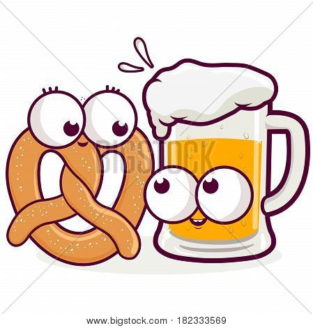 Pretzel and beer cartoons. Vector illustration of a beer and a pretzel character.