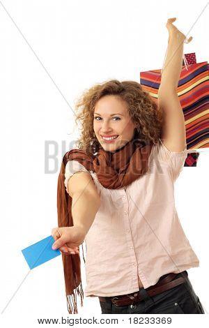 Porträt einer attraktiven jungen Frau mit Konsument isoliert auf weißem Hintergrund