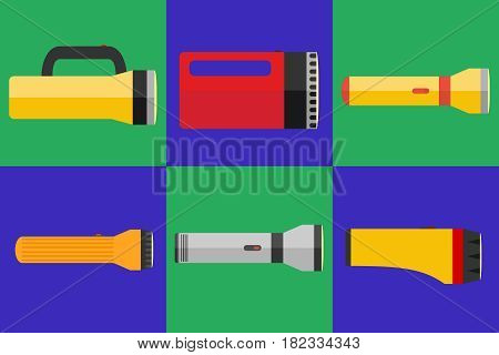 Flashlight a set of flashlights. Flat design vector illustration vector.