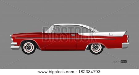 Red retro car on gray background. Vintage cabriolet in a realistic style. Vector illustration