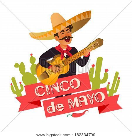 Mexico guitar player at the Cinco De Mayo festival. Mexican and Latin music folk celebration. Vector Illustration.