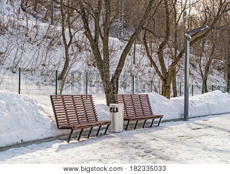 Park benches on the embankment of the Kama