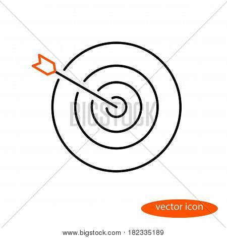 Vector linear image of an arrow in the center of the target a flat line icon.