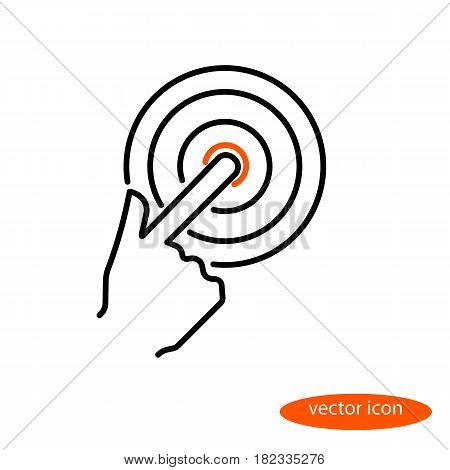 Vector linear image of a finger of a finger pushing on the bell button a flat line icon