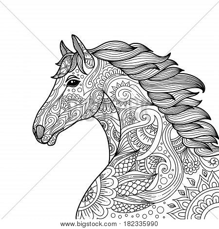 Stylized Hand Drawn Head Horse Coloring Page For Adults Vector Illustration. Anti-stress Coloring Fo