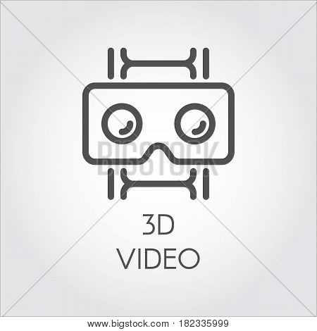 Black flat simple icon in style line art. Outline symbol with stylized image of a new device virtual reality helmet film. Stroke vector logo digital technology future 3D video. Mono linear pictogram.