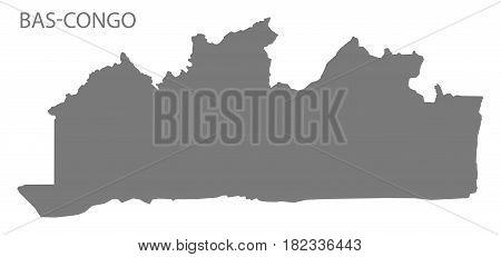 Bas-congo Province Map Congo Democratic Republic Grey Illustration Silhouette