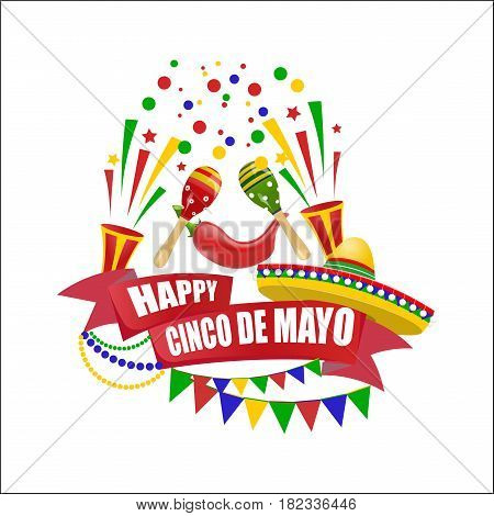 Cinco de Mayo. An inscription with a wish for happiness on the ribbon. Sombrero, flags, maracas and red peppers. Vector illustration