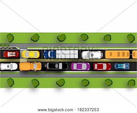 Road, street or highway with complex traffic. The transit jam. Different machines. Shadows from cars and trees. Isolated on white background. Vector illustration