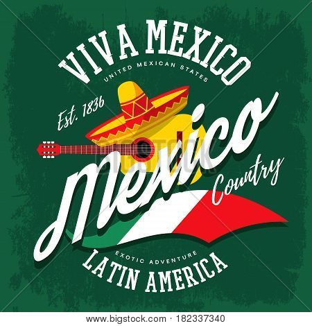 Mexico or mexican sign with sombrero hat and banjo or guitar, flag as sign for latin america country. Cloth branding or t-shirt print tourism or travel advertising or ads, viva mexico theme