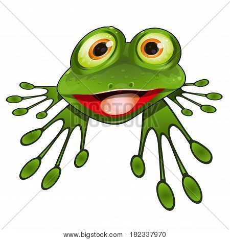 Illustration Cheerful Green Frog Sitting on a White Background