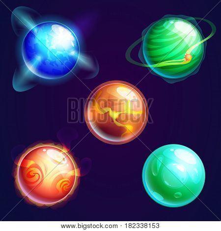 Set of isolated planets with satellites or cosmos universe spherical star objects, cartoon astronomy objects with craters or holes on surface. Science or astrology, supernova and galaxy theme