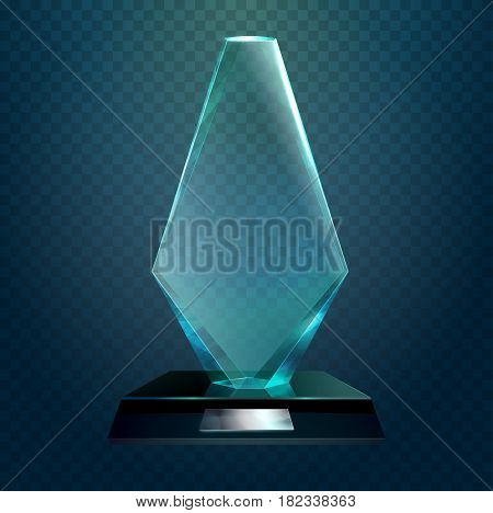 Hexadecimal trophy or transparent rhombus cup, achievement or award, crystal badge for championship prize. Sport sign or competition, championship badge, winner or leadership, pedestal theme