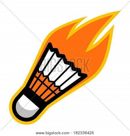 Badminton sport shuttlecock comet fire tail flying logo
