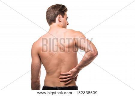 Man Rubbing His Painful Back. Pain Relief, Chiropractic Concept