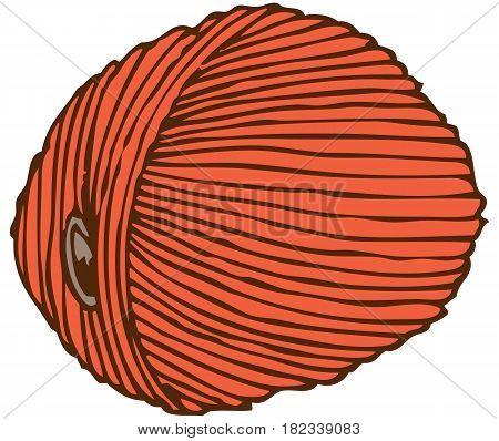 Orange Hank of Yarn. Isolated on White Background