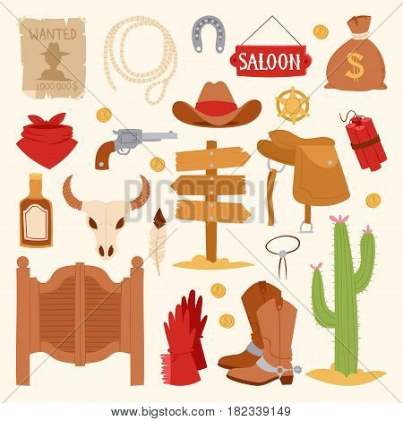Wild west cartoon icons set cowboy rodeo equipment and different accessories vector illustration isolated