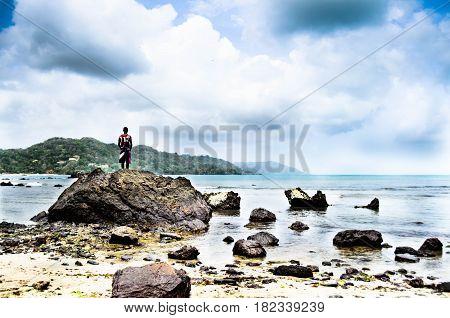 Tropical beach trinidad, looking onwards snd outwards