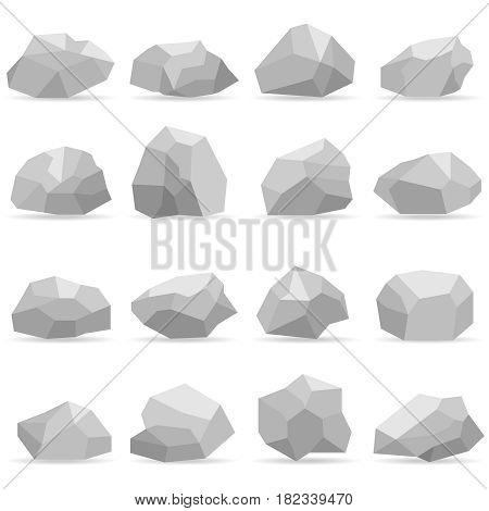 Stones a set of gray stones. Flat design vector illustration vector.