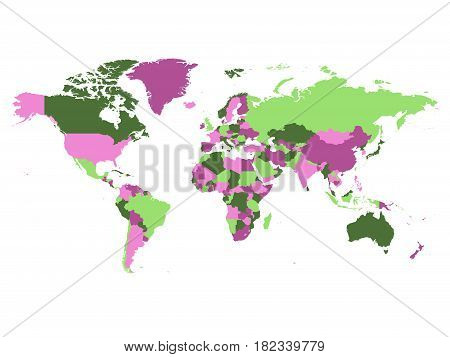 Political map of world. Countries in four different violet and green colors without borders on white background. Blank high detail vector map.