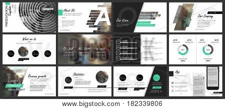 Green and black elements for infographics on a white background. Presentation templates. Use in presentation flyer and leaflet corporate report marketing advertising annual report banner.