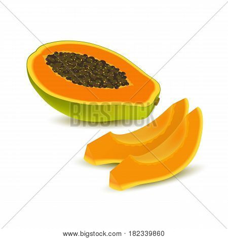 Isolated realistic colored half slice of juicy orange papaya pawpaw paw paw with seeds with shadow on white background and two slices without peel. Side view
