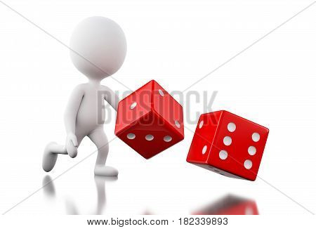 3D White People Throwing Dices.