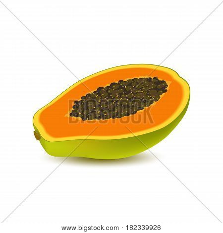 Isolated realistic colored half slice of juicy orange papaya pawpaw paw paw with seeds with shadow on white background. Side view