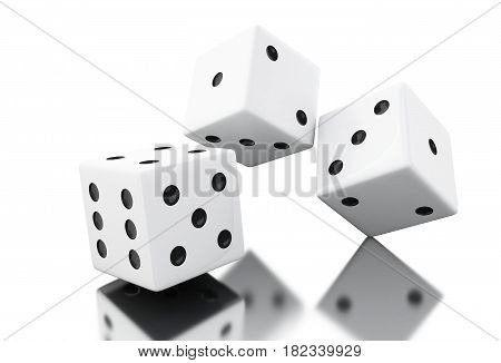 3D Throwing White Dices