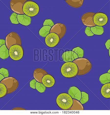 Seamless Pattern of Kiwifruit , Fruit Kiwi on Purple Background, Vector Illustration
