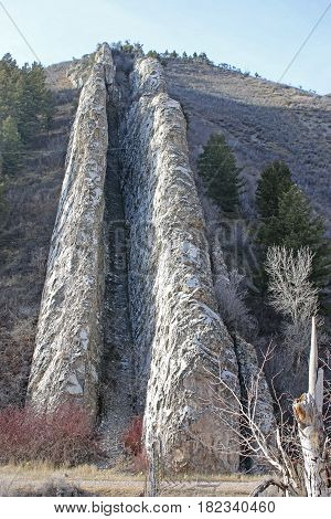 Rock formation of Devil's Slide in Utah