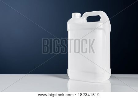 Unlabeled white plastic tank canister chemical liquid container as mock up object template
