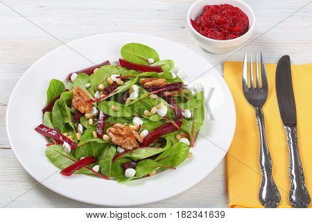 Chard, Cottage, Beetroot And Nuts Salad