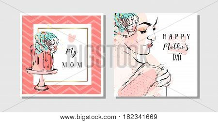 Hand drawn vector abstract greeting cards set with Happy Mother's Day Calligraphy and woman figure with abstract flowers isolated on white backgroundfeminine design for cardinvitationsave the date.
