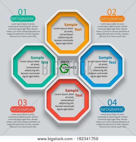 vector abstract 3d paper infographic elements. Octagon infographics