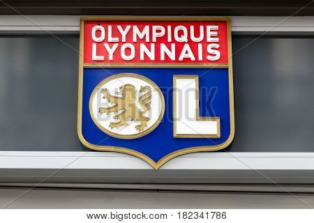Lyon, France - February 26, 2017: Olympique Lyon commonly referred to as simply OL is a French football club based in Lyon. It plays in France's highest football division, Ligue 1
