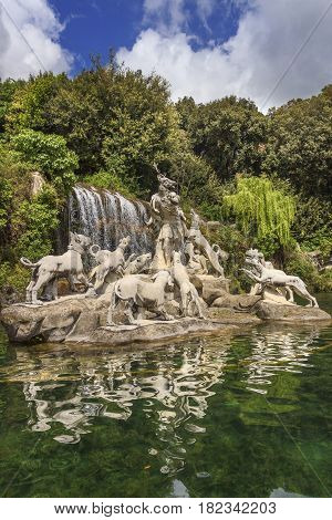 Caserta Palace Royal Garden,Italy (Campania). Sculptural group:The Fountain of Atteone and Diana's with waterfalls water.It is a royal residence in Caserta constructed for the Bourbon kings of Naples.