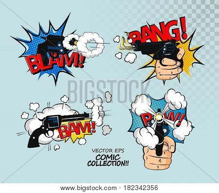 Blam lettering fun vector illustration. Comic effect speech phrase print.Revolver smoke after a shot drawn