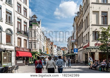 Antwerp Belgium - July 28 2016: The Grote Markt of Antwerp. It is located in the heart of the old city quarter.