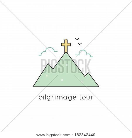 Pilgrimage vector thin line icon. Cross on top of the mountain. Isolated symbol. Logo template, element for travel agency products, tour brochure, excursion banner. Simple mono linear modern design.