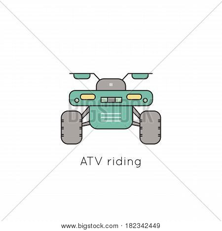 ATV vector thin line icon. Isolated symbol. Logo template for riding tour, element for travel agency products, tour brochure, excursion banner. Simple mono linear modern design.